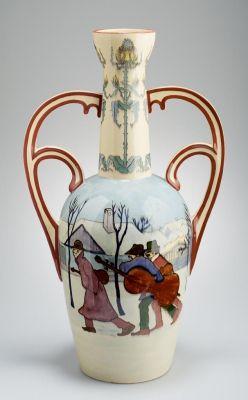 Váza - falusi jelenettel (vándorzenészek) Pálinkás Béla