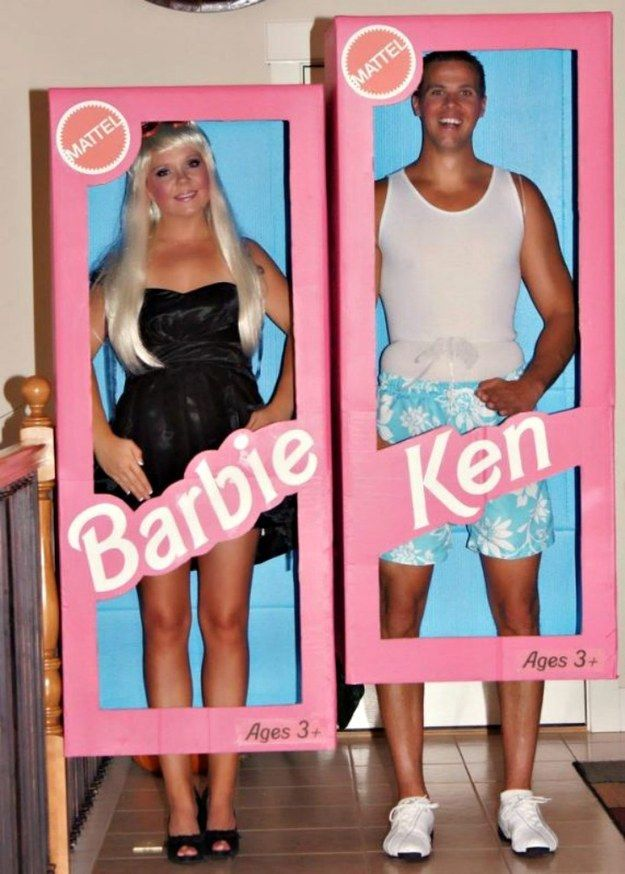 Channel your plastic selves as Barbie and Ken. | 33 Super Easy Cardboard Box Halloween Costumes For Lazy People