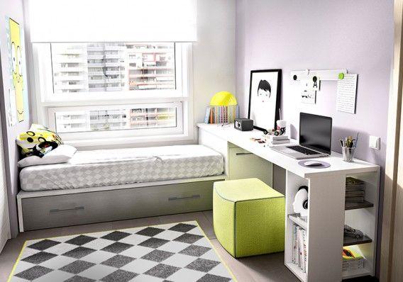 Dormitorio juvenil formado por cama nido arc n for Dormitorio estudio