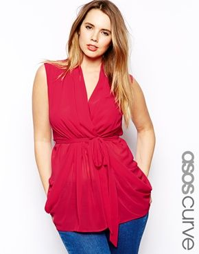 ASOS CURVE Exclusive Belted Wrap Top. Would be great with a blazer.