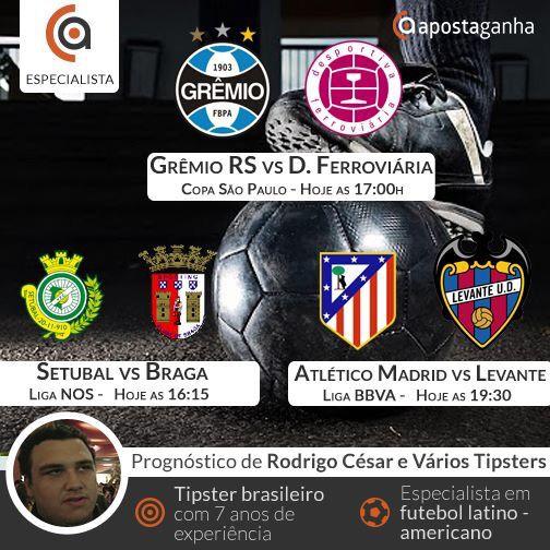 O Futebol brasileiro está de volta com a Copinha e o especialista Rodrigo Cesar traz seu prognóstico. Além disso tem Liga NOS e Liga BBVA na tarde de futebol. Confiram:  http://www.apostaganha.com/2016/01/02/prognostico-apostas-gremio-vs-desportiva-ferroviaria-copa-sao-paulo-1111/  http://www.apostaganha.com/2016/01/02/prognostico-apostas-setubal-vs-braga-liga-nos-44-5-1/  http://www.apostaganha.com/2016/01/01/prognostico-apostas-atletico-de-madrid-vs-levante-liga-bbva-9-8-23…