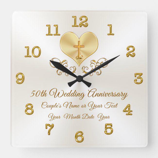 Christian 50th Anniversary Gifts Personalized Square Wall Clock Zazzle Com In 2020 50th Anniversary Gifts Anniversary Gift For Friends Anniversary Gifts