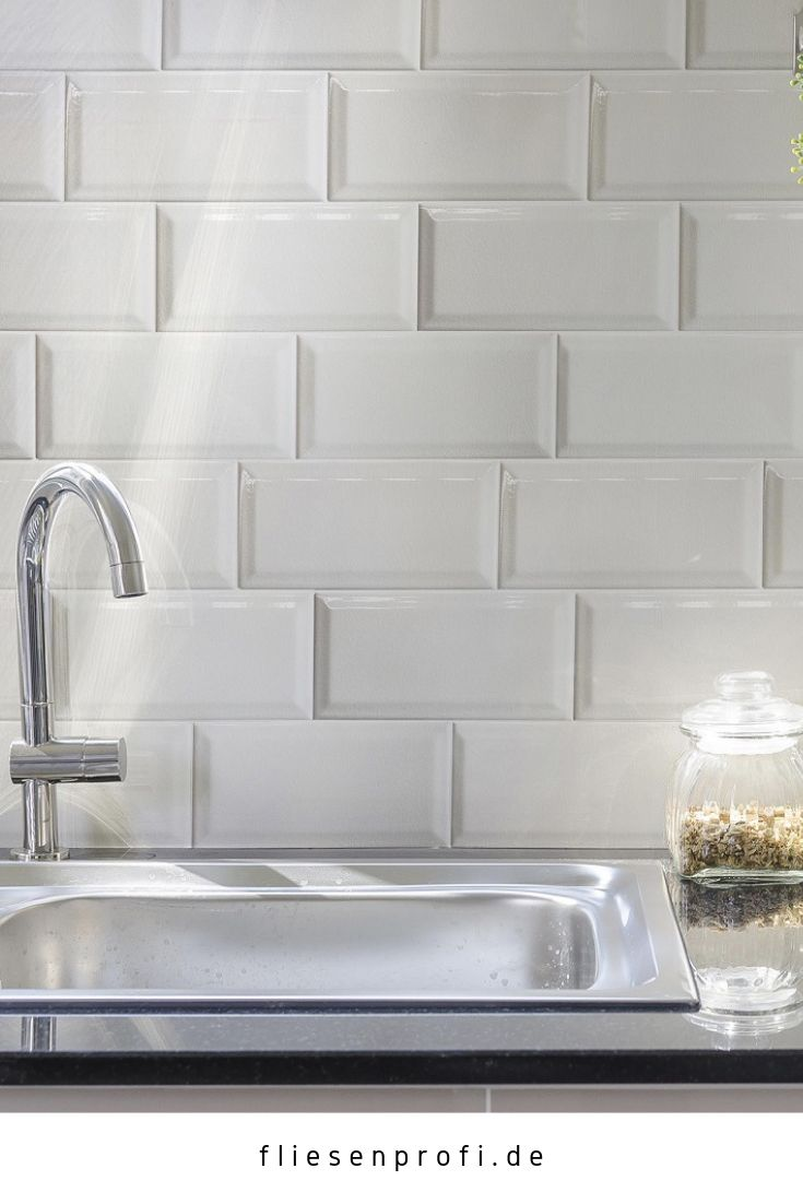 Metro Fliese Küche Bad Craquelé Krakelee weiß glänzend 10×20 Facettenfliese 29,90 EUR/m²