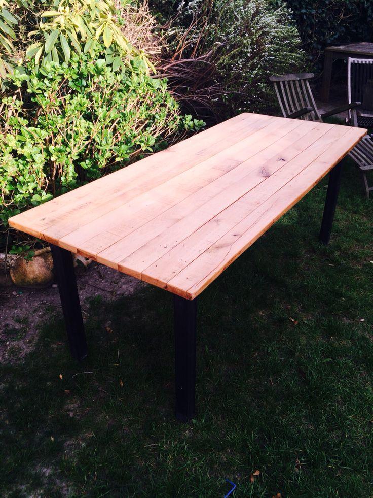 Oak table with steel legs