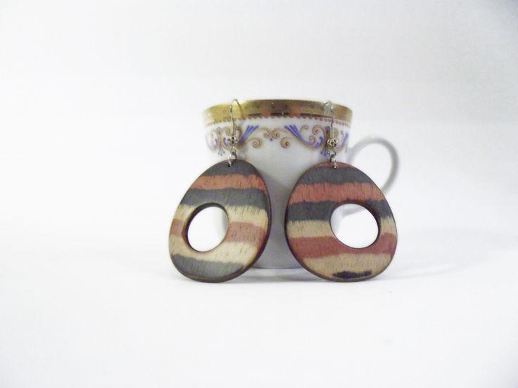#Inlaid #wood #earrings of Piccole Gioie su #DaWanda http://it.dawanda.com/product/67108467-Orecchini-in-legno-intarsiato-a-righe