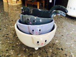 cat measuring bowls..ceramic, functional, 4 different sizes