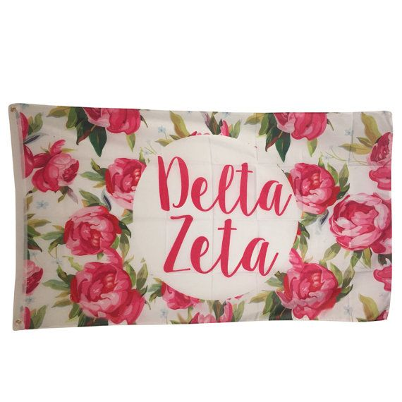 Delta Zeta White Rose Floral Flag 3' x 5' by GreekLifeStuff