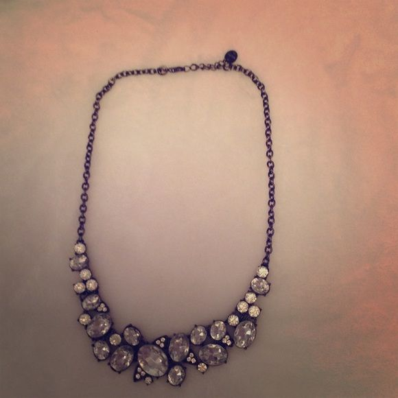 Black chained necklace with silver jewels Dainty accent necklace Francesca's Collections Jewelry Necklaces