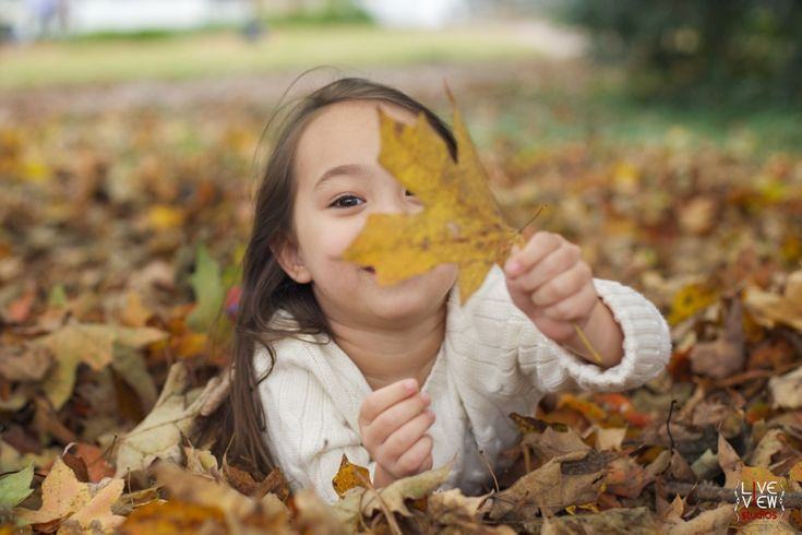 cute little girl hiding in colorful fallen leaves - #fall #winter #autumn family photography -  raleigh nc family photographers
