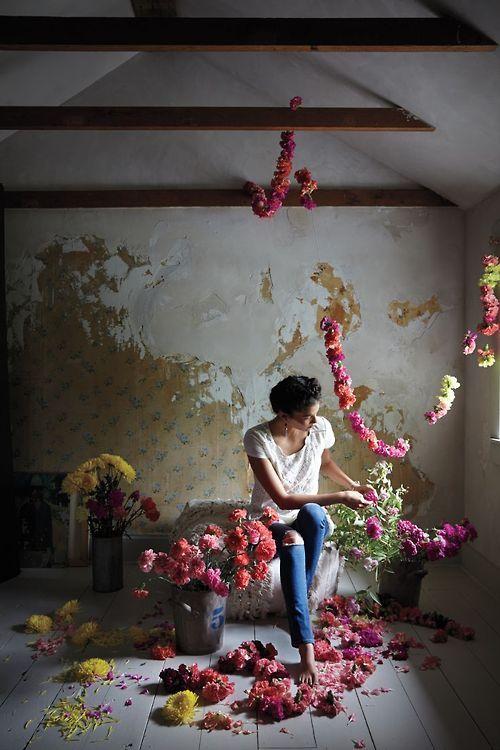 stringing flowers