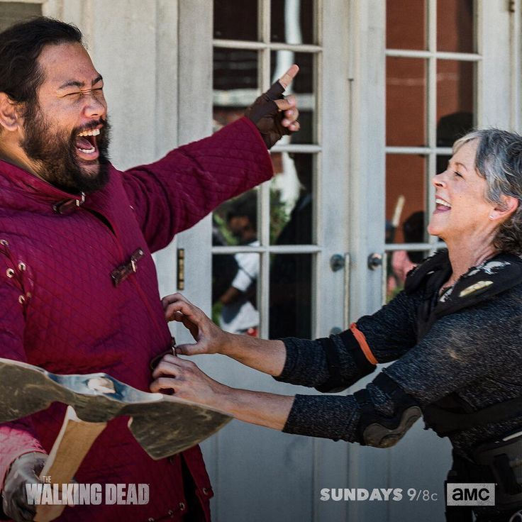 "The Walking Dead (@amcthewalkingdead) on Instagram: ""Melissa and Cooper, hard at work. #TWD"" -- Cooper Andrews as Jerry and Melissa McBride as Carol Peletier in The Walking Dead S8 Ep06 ""The King,The Widow and Rick"" - Behind-The-Scenes ...Tickle-Tickle"