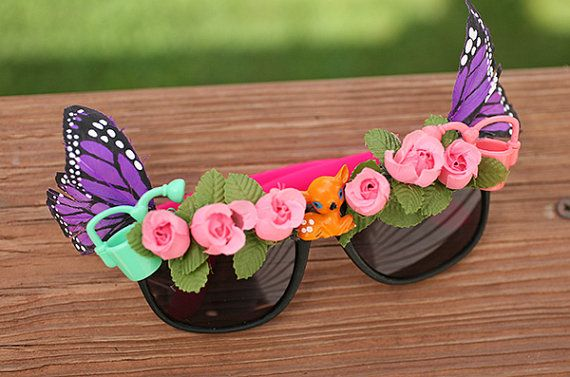 Fairy Glasses - Fairy Sunglasses - Roses Butterflies Deer Pink - Coachella Electric Daisy Festival Glasses