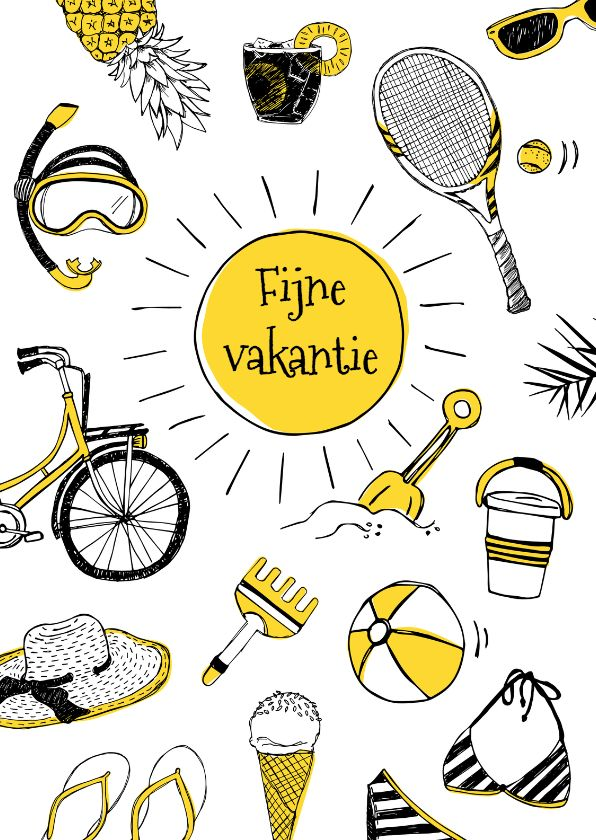 Vrolijke en zomerse kaart met illustraties van ananas, tennisracket, zonnebril, duikbril, bikini, slippers, ijsje, strandbal, schepje en meer.