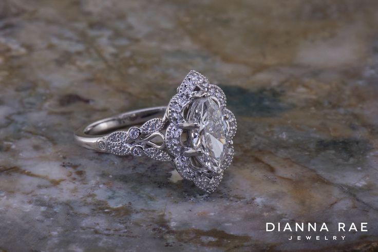 Custom Marquise Shaped Diamond Engagement Ring Romantic New Halo Elaborate Detail with Milgrain @DiannaRaeLA Original Design