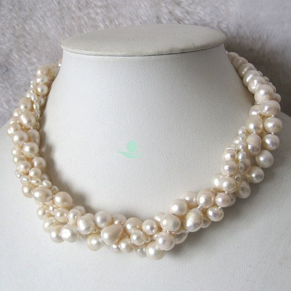 Pearl Necklace - 18 inches 4-10mm 4 Row White Freshwater Pearl Necklace - Free Shipping