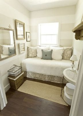 a twin bed looks like a couch in a guest or baby room. I really like the stripes, and they're not a drastic contrast, very mellow