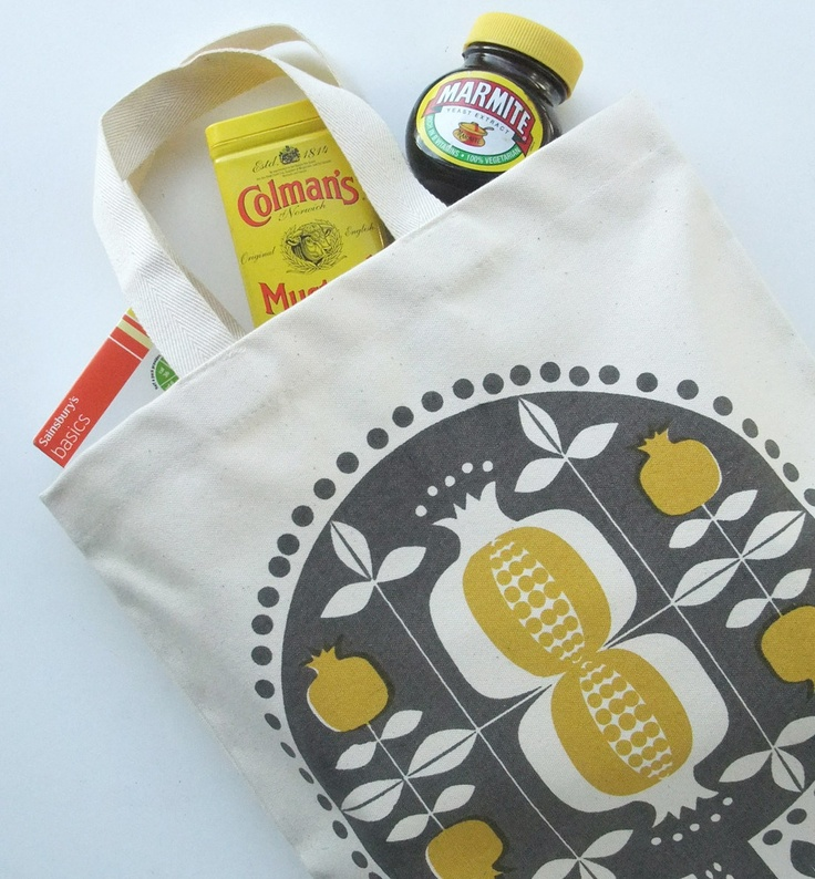 Image of pomegranate tree canvas tote bag