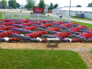 Heritage Trail Quilt Gardens, Quilts patterns in flowers.  - This quilt design is called Weaver Fever and is a popular quilt design in the Amish community. The hardscape, limestone and mulch, provides definition and delineation to the pattern.