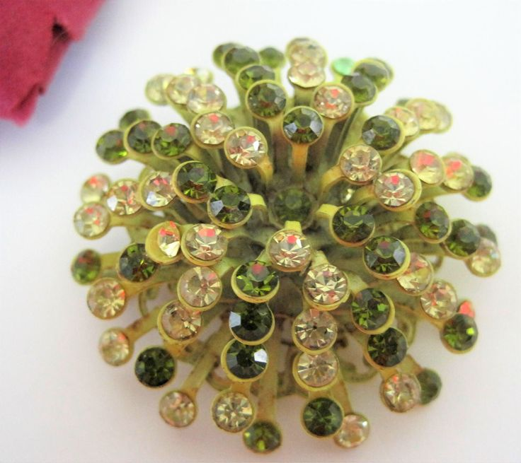Excited to share the latest addition to my #etsy shop: Yellow Green Atomic Brooch - Mod Rhinestone Pin - Vintage Rhinestone Explosion Pin
