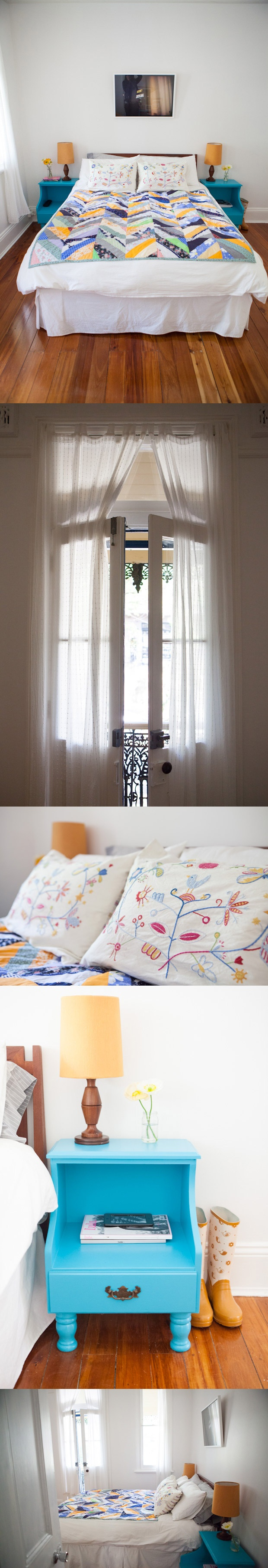 Homes interiors inspiration - Claire Yvonne Evans - Ashka interview #homes #interiors #inspirations #creative #sydney #australia #bedroom #floors #floorboards #bluetables #quiltedblanket #whitecurtains #embroideredpillows