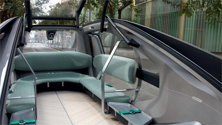 Gli interni del nuovo concept Renault EZ-GO elettrico a guida autonoma e pensato per una mobilità condivisa. Ci fa intravedere come sarà il futuro della mobilità nelle nostre città