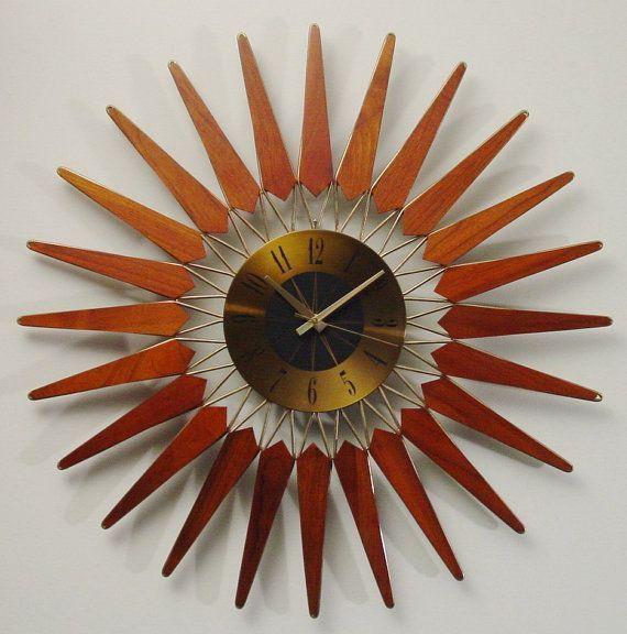 Teak Sunburst clock, mid century modern