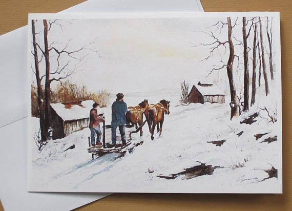 Winter Landscape 5 x 7 greeting card Christmas card Quebec