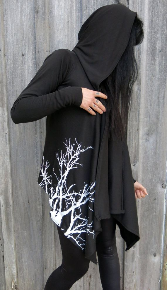 Lavinia Black Branches Drape Hoodie by HellCouture on Etsy