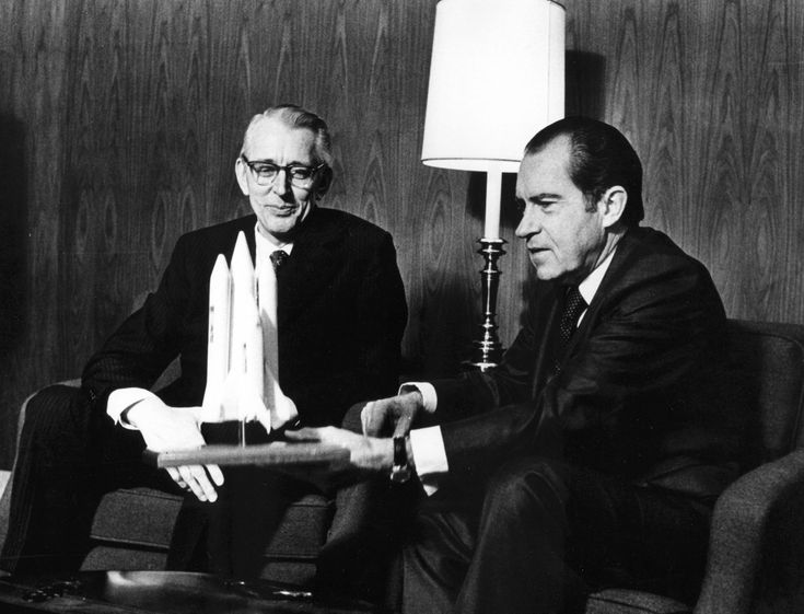 On this day, January 5, 1972, President Richard Nixon (here with NASA Administrator James Fletcher) officially announces the Space Shuttle program.