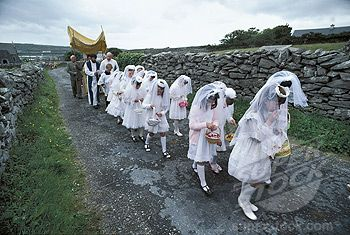 Children in the annual Corpus Domini procession on the Isle of Inishmore ... Ireland