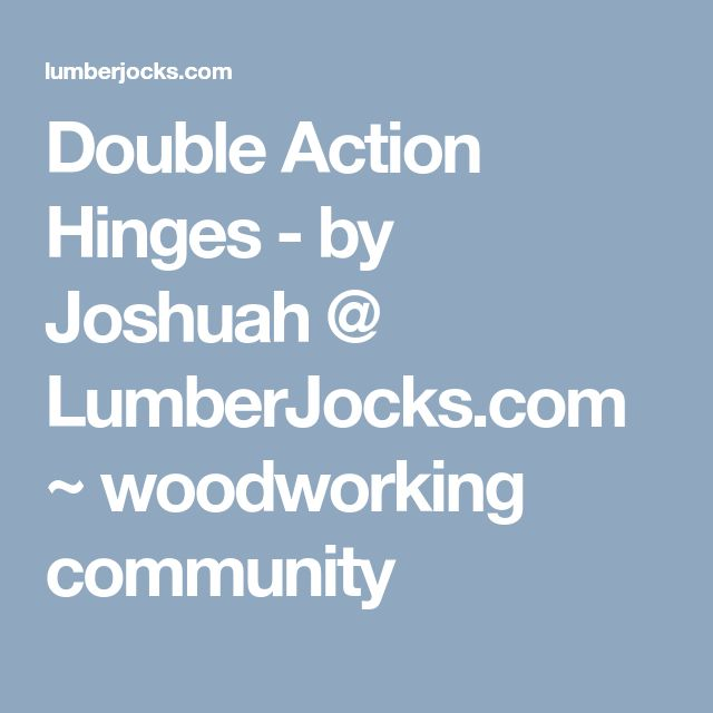 Double Action Hinges - by Joshuah @ LumberJocks.com ~ woodworking community