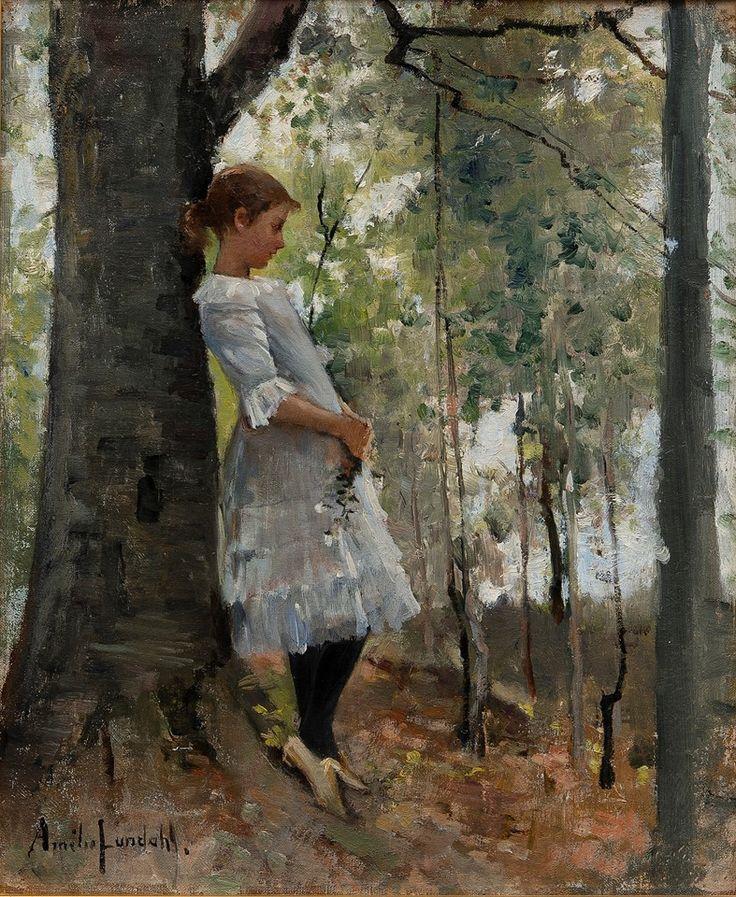 Amelie Lundhal (1850-1924) Ragazza in una foresta lussureggiante