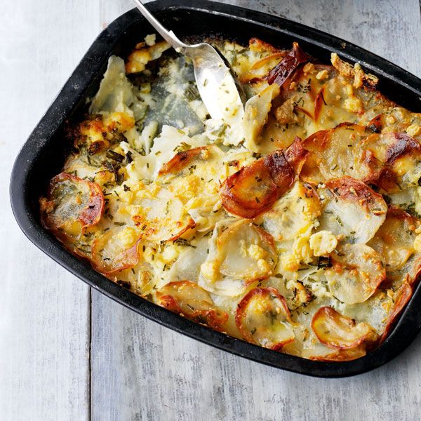 This scrummy potato, cheese and onion gratin goes great with roast lamb or beef for a warming weekend lunch.
