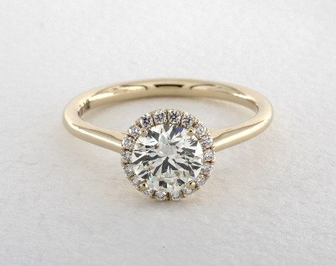 18K Yellow Gold Pave Halo Engagement Ring (Round Center) | 17155Y - Mobile
