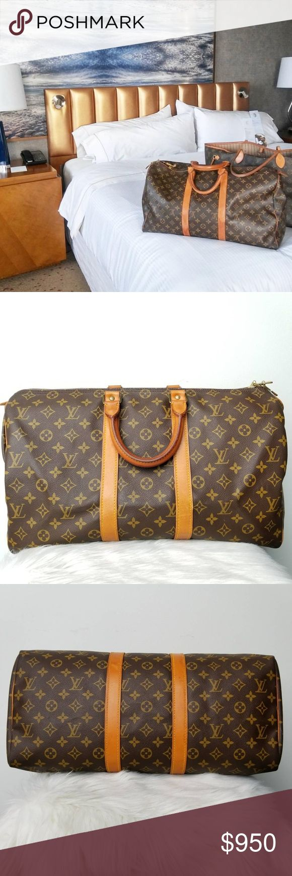 AUTHENTIC LOUIS VUITTON MONOGRAM KEEPALL 45 DUFFLE WE GUARANTEE ALL OUR ITEMS ARE 100% AUTHENTIC! Make other travelers jealous with this versatile Louis Vuitton Monogram Canvas Keepall 45 that is perfect for travel or a weekend getaway. With its ultra-spacious interior and the capability of folding flat, this bag is versatile as an additional travel piece.   Details:  Brand: Louis Vuitton Model: Keepall 45 Retail: $1350 Style: Travel Bag Material: Monogram Canvas Color: Brown Made: France…