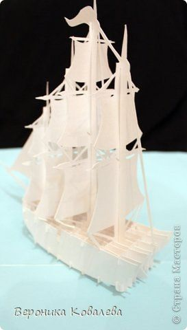 Открытка День рождения Вырезание Киригами pop-up Корабль + схема Бумага фото 4
