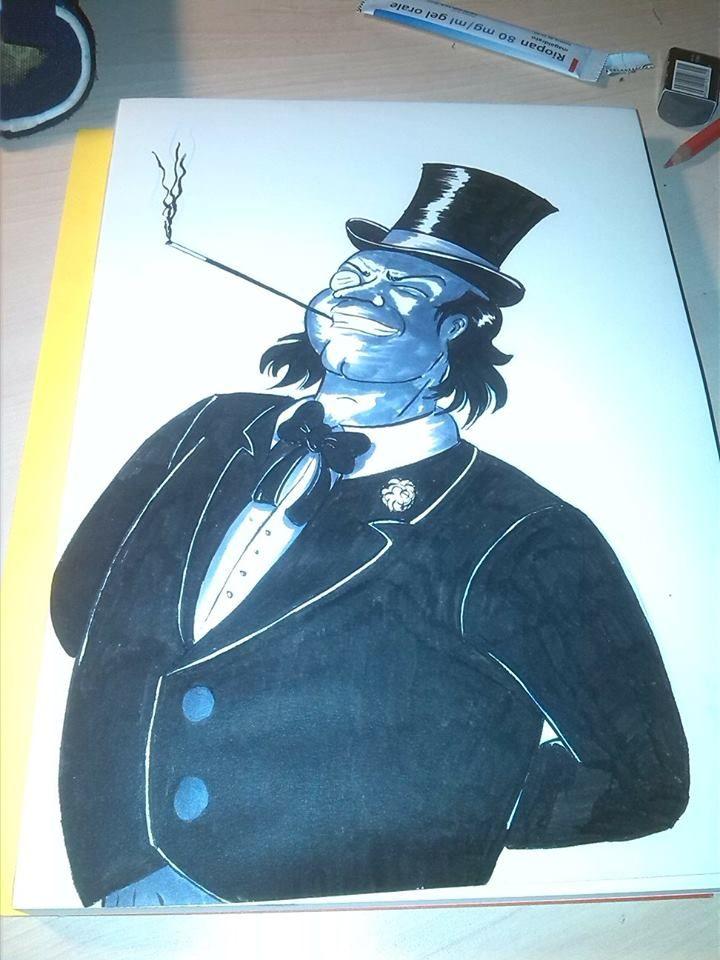 punguino disegno estemporaneo con fude pen e pantone