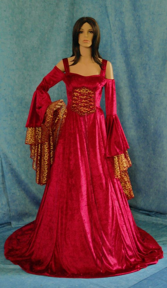 Renaissance medieval handfasting  wedding dress by camelotcostumes