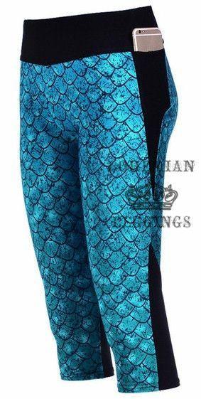 Blue Mermaid Fish Scale Capri Yoga Pants. When a mermaid can't be in the ocean, plus what beats yoga pants with pockets! #finfun #mermaids #mermaidtail www.finfunmermaid.com