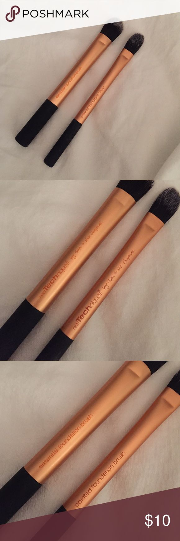Real techniques foundation brushes Selling two real techniques brushes.  One is the essential foundation brush, the other is the pointed foundation brush.  Both are only available in sets.  I like other brushes from the sets but not these.  Used maybe twice. Real techniques Makeup Brushes & Tools