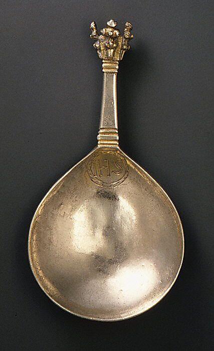 Crown-top spoon 16th century Swedish- Silver, parcel gilt.