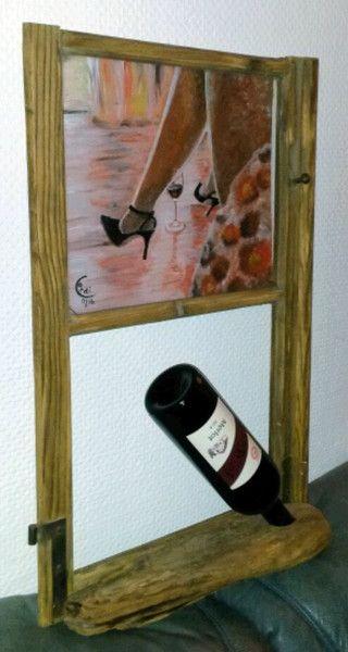 Weinregale - Holz-Weinhalter mit sinnlichem Acrylbild - ein Designerstück von HOAMELIGundSCHEAN bei DaWanda