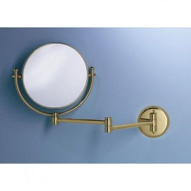 """Gatco Magnifying 8"""" Swinging Wall Mirror in Polished Brass - 1423"""
