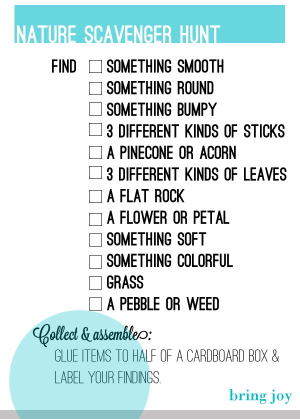Nature Scavenger Hunt http://bring-joy.com/wp-content/uploads/2012/09/Bring-Joy-Nature-Scavenger-Hunt.png