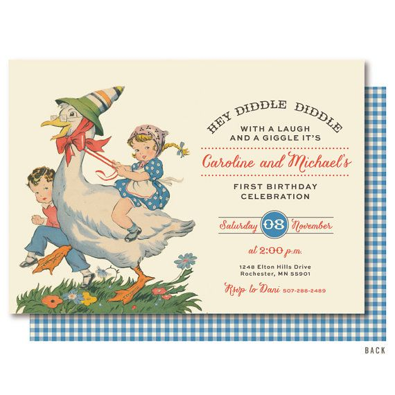 Nursery Rhyme First Birthday Mother Goose by DelightPaperie