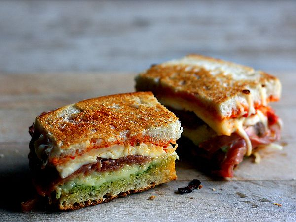 """Caprese"" Grilled Cheese with Prosciutto on Ciabatta"