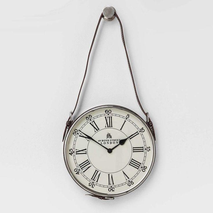 Orologio da parete rotondo Hacienda d26cm Originale orologio da appendere con cinturino in pelle eco. Numeri romani