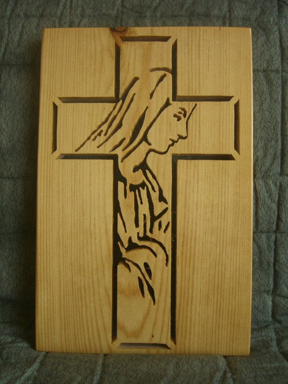 mary and cross wood carving