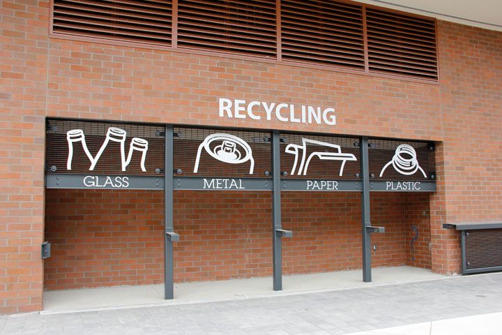 Recycling signage at the Bellingham Technical College Campus Center designed by BrandQuery.