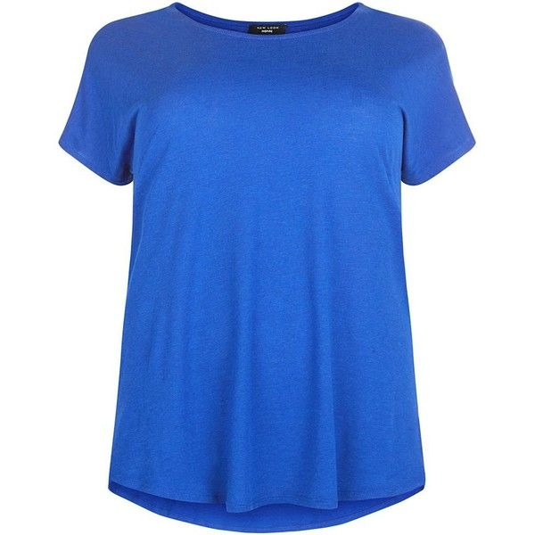 Plus Size Blue Step Hem T-Shirt ($12) ❤ liked on Polyvore featuring tops, blue, womens plus tops, women plus size tops, blue top, plus size tops and short sleeve tops